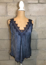 Lace Deep Double V-Neck Cami in Navy