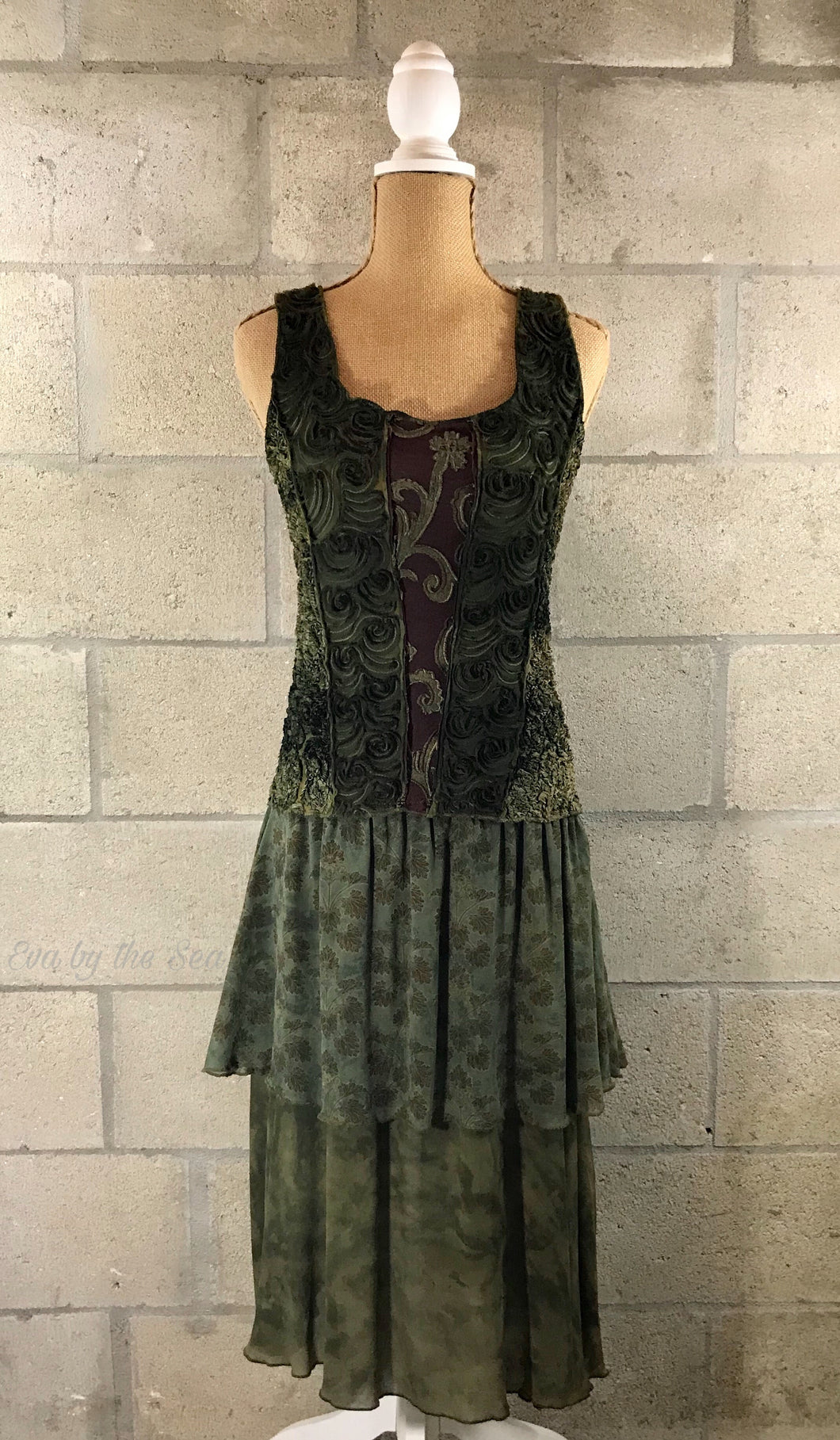 Artisan Style Tie Dye Tank Dress in Olive