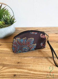 Small Textile Cosmetic Pouch with Detachable Leather Wristlet