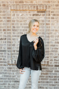 Elisa V-Neck Long Sleeve Gathered Wrist Top in Black