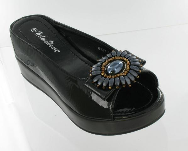 Flower Gem Slides in Black
