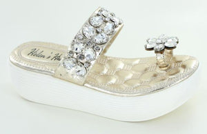 Jeweled Wedge Sandals in Gold