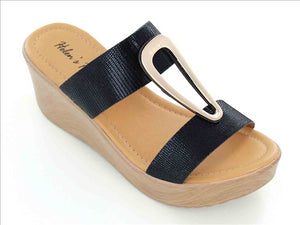 Gold Accent Wedge Sandal in Black
