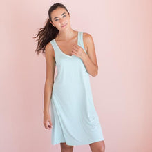Bamboo V-Neck Nightshirt in Aqua Mist
