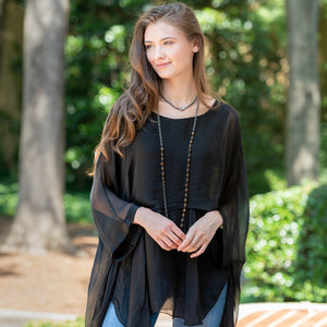 Katerina 2 Layer Silk Top in Black