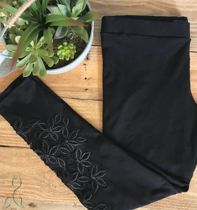Lace & Floral Detail Legging in Black