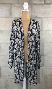Silk/Satin Black & White Print Duster