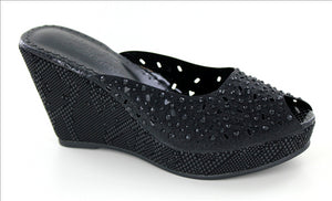 Crystal Peep-Toe Wedges in Black