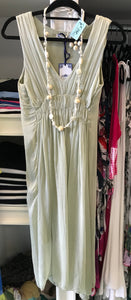 Sleeveless Empire Waist Silk Dress in Sage