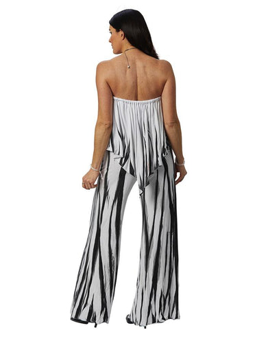3 Way Jumpsuit in Black & White Bamboo Print