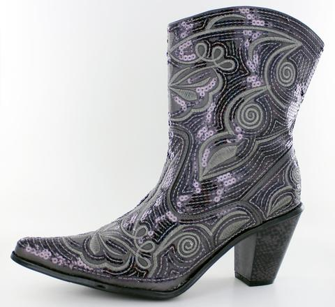 Low Rise Sequin Cowboy Boots in Grey