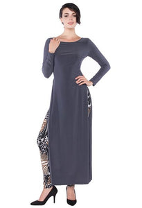 Long Sleeve Tunic with High Slits in Metal