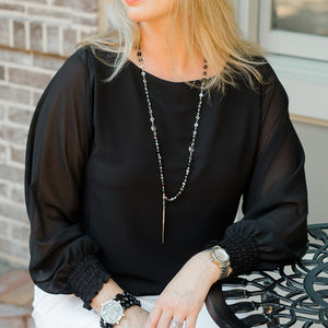 Nicole Gathered Long Sleeve Top in Black