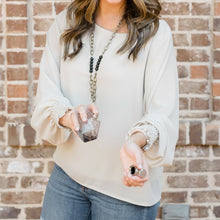 Nicole Gathered Long Sleeve Top in Beige
