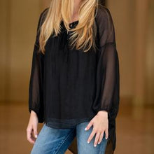 Rosalina Open Tie Neckline Long Sleeve Top in Black