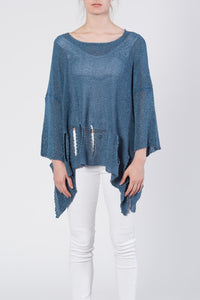 Holey Moley Sweater in Indigo Blue