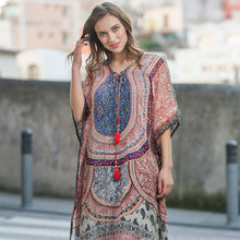 Cover-Up / Kaftan in Red & Blue Print with Red Tassels
