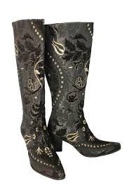 Midnight Light Kitten Heel Knee High Boots in Black