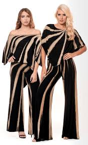 3 Way Jumpsuit in Black & Tan Bamboo Print