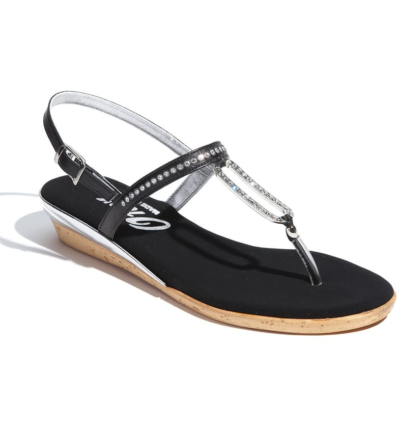 Cabo Thong Sandal in Black & Silver