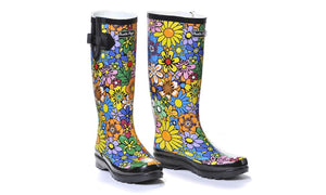 Rubber Rain Boots in Colorful Wild Flowers
