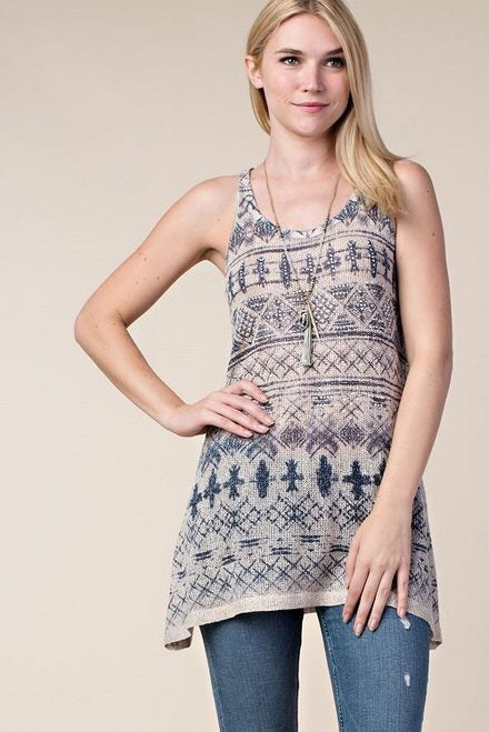 Taupe Tank with Rhinestone Detail in Blue Print