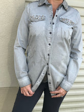 Grey Chain & Bling Embellished Button Up