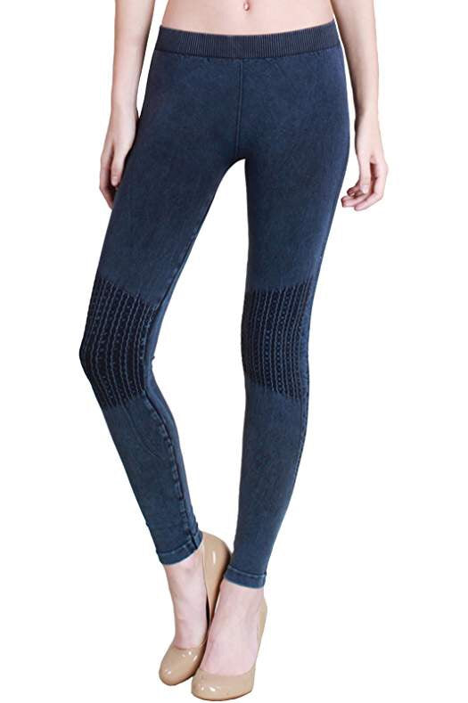 Vintage Knee Shirring Legging in Denim