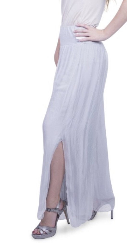 Silk Pant with Side Slits in White