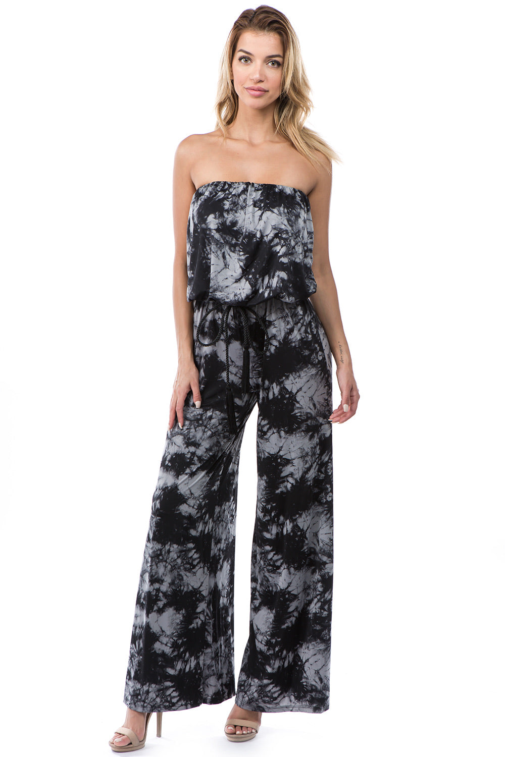 Strapless Jumpsuit in Black Tie Dye
