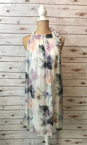 Tie-Neckline Floral Dress