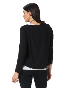Long Sleeve Cropped Pullover Top in Black