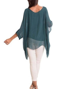 Kaftan Style Blouse in Forest Green