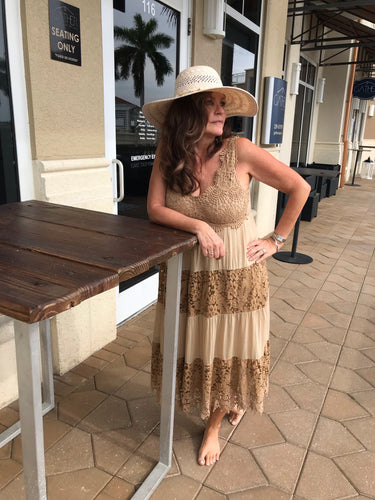 Crochet Dress in Sand