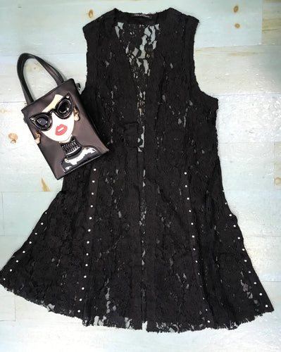 Lace Vest Duster in Black