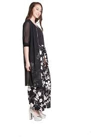 Floral Print Wide Leg Pants Black/White