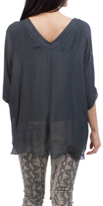 Silk V-Neck Raw Edge Top in Charcoal
