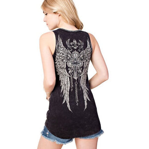 Cross and Wings Tank Top with Stitched Neckline in Black