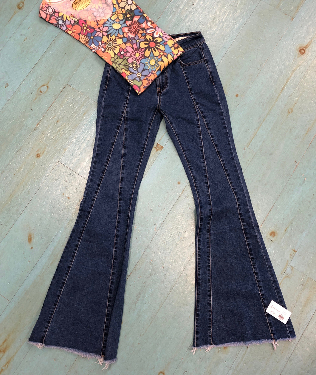 Mid Rise Flair with Stitch Detail Denim Jeans