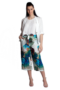 Watercolor Floral Print Linen Cropped Pants