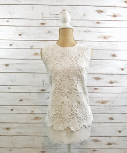 Sleeveless Crochet Top in White