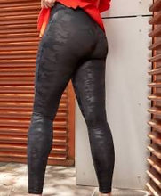 Faux Leather Camo Leggings in Black