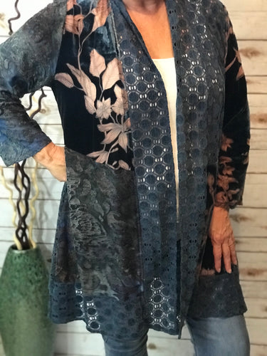 Silk & Velvet Duster in Navy
