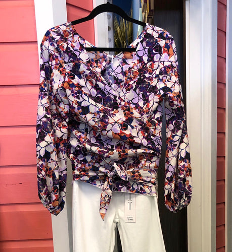 Purple Floral Low Back Wrap Top