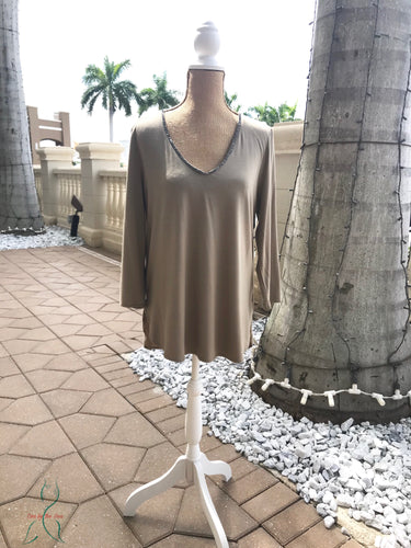 Rhinestone Trim Top in Khaki/Taupe