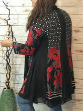 Black & Red Wool Knit Duster