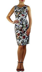 Sleeveless Cowl Neck Print Dress
