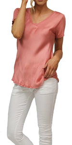Satin V-Neck T-Shirt