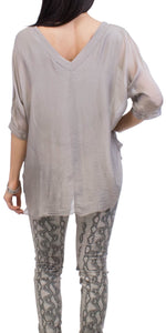 Silk V-Neck Raw Edge Top in Taupe
