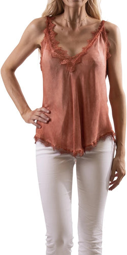 Lace Deep Double V-Neck Cami in Rust